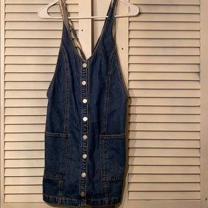 Free people button overall dress